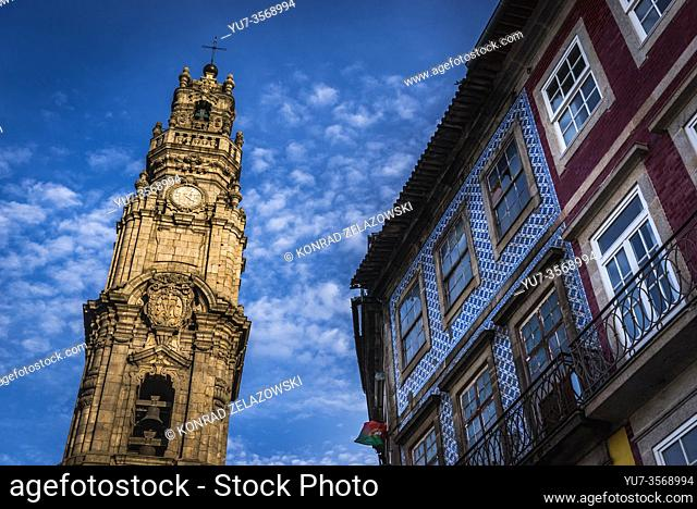 Bell tower of Clerigos Church (Church of the Clergymen) in Vitoria civil parish of Porto city on Iberian Peninsula, second largest city in Portugal