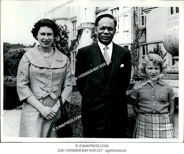 Aug. 08, 1959 - Channels prime minister sees the queen at baimororal castle : Dr. Nkrumah, the prime minister of Ghana, has paid a visit to the queen at...