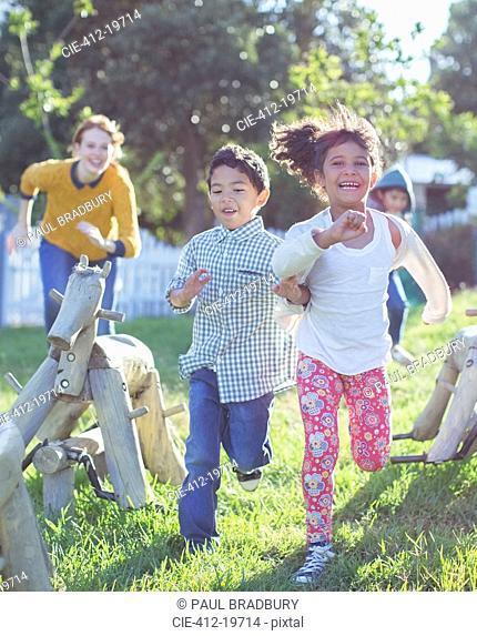 Children running on playground