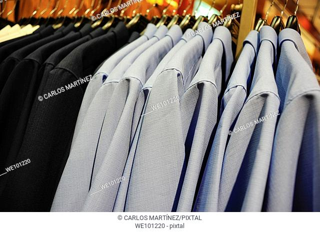 Shirts in a department store, Barcelona, Catalonia, Spain