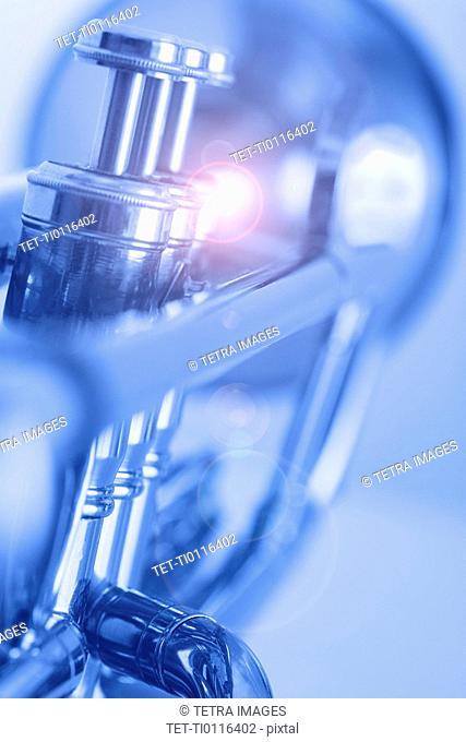 Closeup of blue trumpet