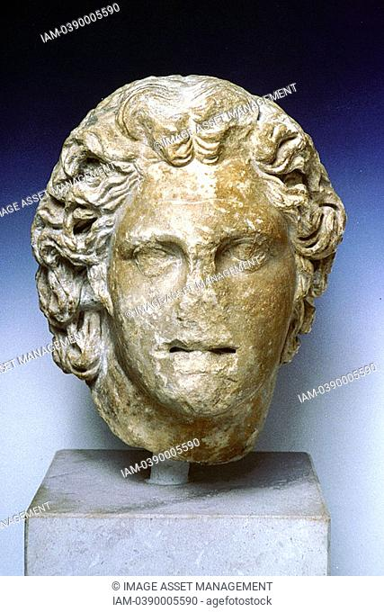 Alexander the Great 356-323 BC, Alexander III of Macedon  Ivory portrait bust from the royal tombs at Vergina  Archaeological Museum of Thessaloniki