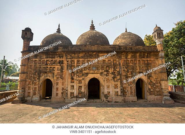 """Bangladesh â. """" March 2, 2019: Nayabad Mosque Font views, is located in Nayabad village in Kaharole Upazila of Dinajpur District, Bangladesh"""