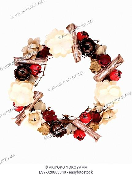 wreath decorated with handmade paper flower