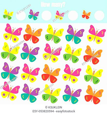 Counting educational children game, math kids activity sheet. How many objects task. Learning mathematics, numbers, addition theme with butterflies