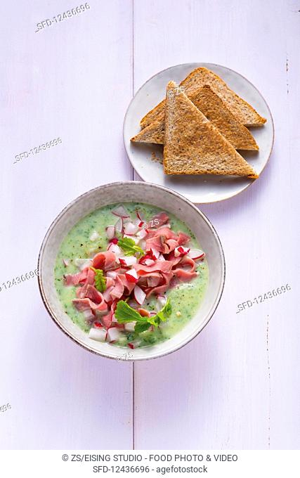 Radish soup with roast beef