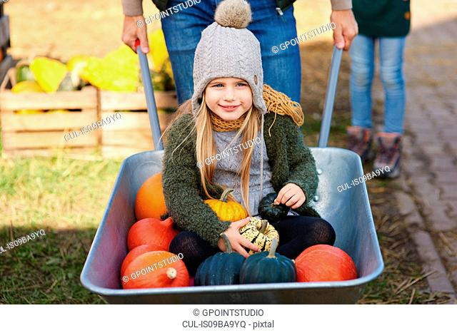Portrait of girl in wheelbarrow with pumpkins at pumpkin patch