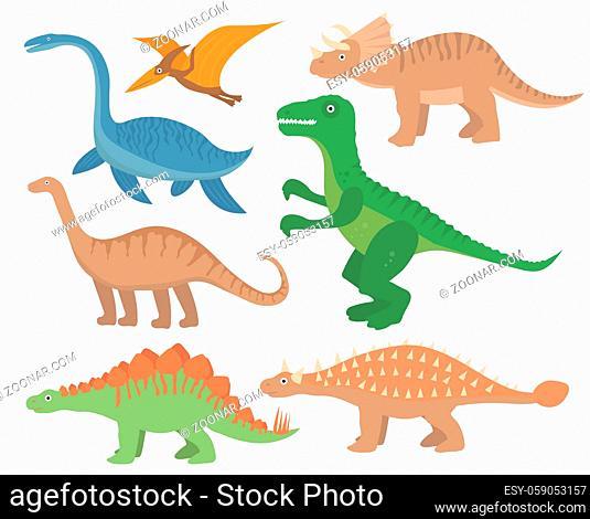 Dinosaurs flat icon set, cartoon style. Collection of objects with pterosaur, stegosaurus, triceratops, allosaurus, tyrannosaurus, apatosaurus