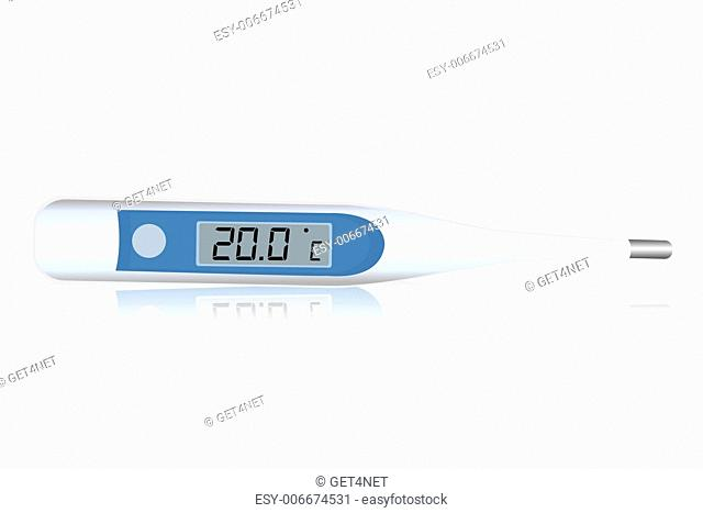 illustration of digital thermometer icon on white background