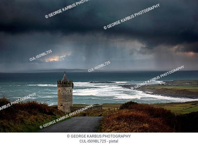 Stormy sky over Doonagore Castle, Doolin, Clare, Ireland