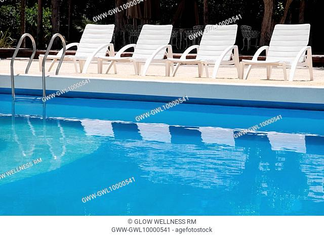 Lounge chairs at the poolside