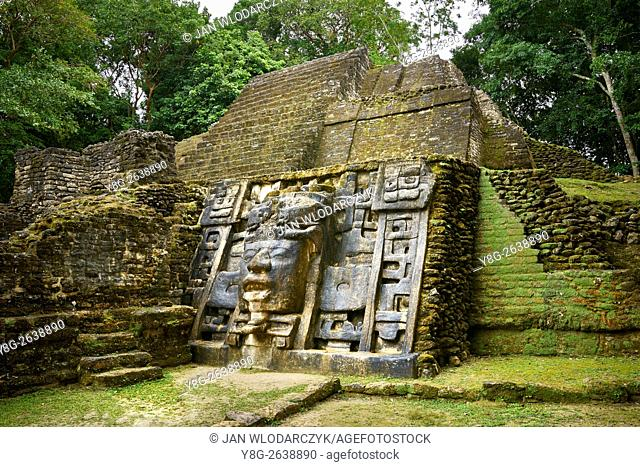 Mask Temple, Ancient Maya Ruins, Lamanai, Belize