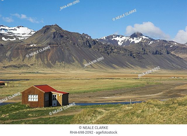 Timber buildings at Budir, Snaefellsnes Peninsula, North West area, Iceland, Polar Regions