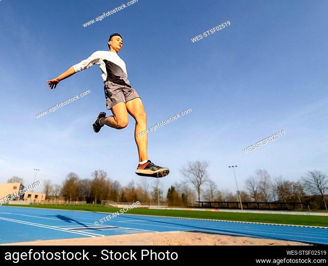 Long jumper during training