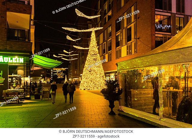 Christmas Market at Überseequartier, Hamburg, Germany