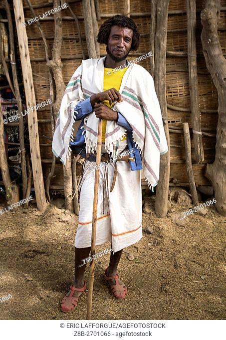 Ethiopia, Oromia, Metehara, proud karrayyu tribe man in traditional clothes