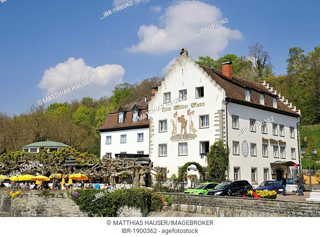 Wilder Mann hotel and restaurant, Meersburg on Lake Constance, Baden-Wuerttemberg, Germany, Europe
