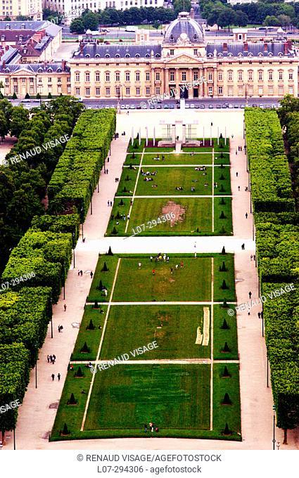 Champs de Mars seen from above. Paris. France