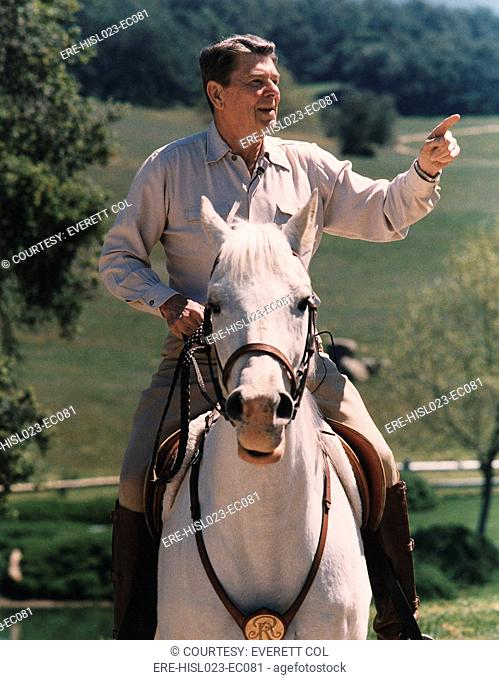 President Reagan riding his horse 'El Alamein' at his California home Rancho Del Cielo. April 8 1986. PO-USP-EQU-Reagan-NA-12-0073M