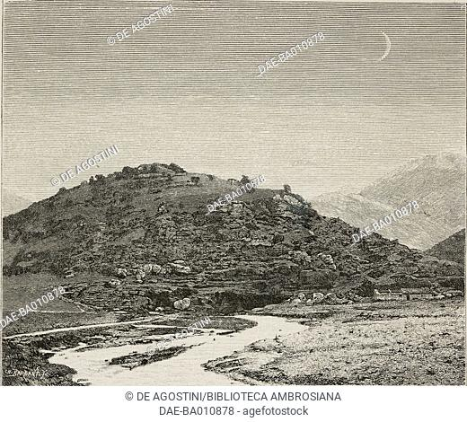 The sources of the river Ladon, Greece, illustration from Histoire des grecs, volume 1, Formation du peuple grec, 1887, by Victor Duruy (1811-1894)