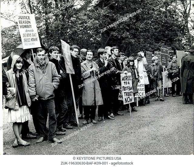 Jun. 30, 1963 - Ban The Bombers At Birch Grove: Supporters of the Campaign for Nuclear Disarnament and the Committee of 100 this morning congregated at Birch...