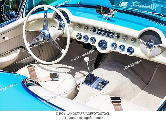 Abstract detail of a 1957 Chevrolet Corvette automobile at an open air car show