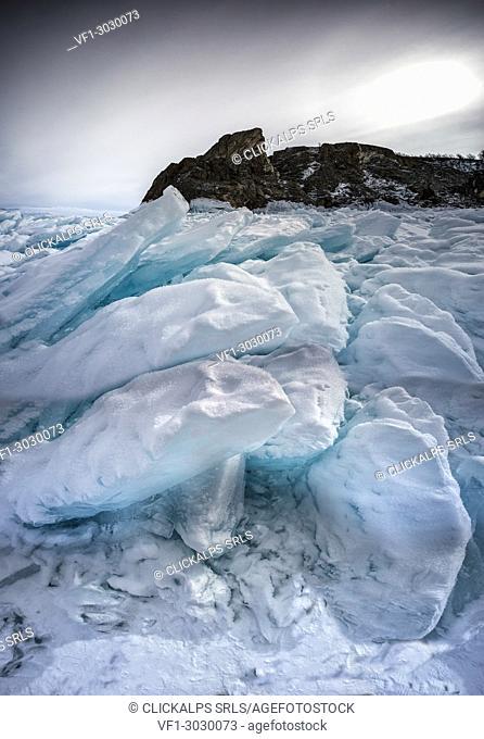 Blocks of ice on the Lake Baikal, Irkutsk region, Siberia, Russia