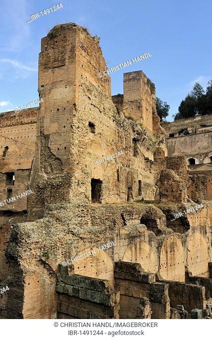 Ruins at the foot of the Palatine Hill, seen from the Via di San Teodoro, Rome, Italy, Europe