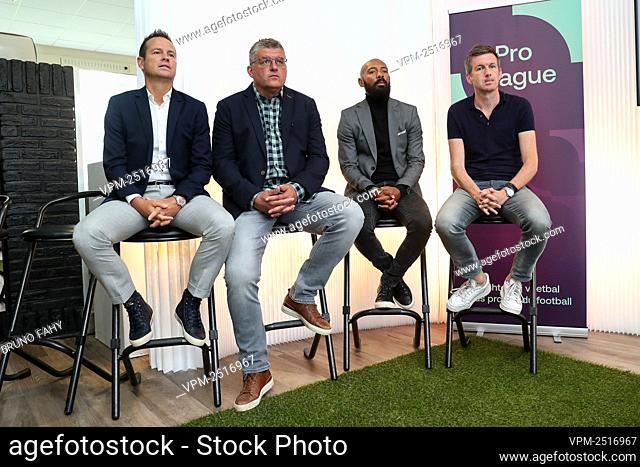 Former soccer players Gilles De Bilde and Philippe Albert, TV commentator Gunter Van Handenhoven and TV commentator Filip Joos pictured during a press...