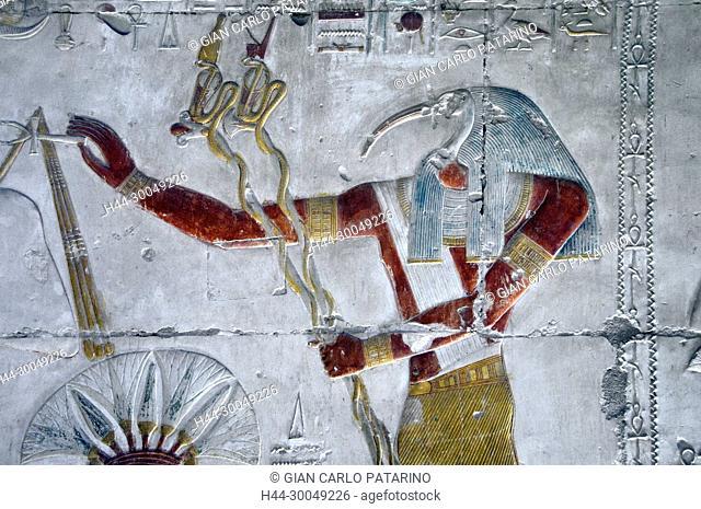 Abydos, Egypt, the mortuary temple of pharaoh Seti I, Menmaatra, (XIX° dyn. 1321-1186 B.C.) - The god Toth