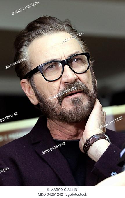 """Actor Marco Giallini attends at """"""""Beata Ignoranza"""""""" photocall. Rome (Italy), february 20, 2017"""
