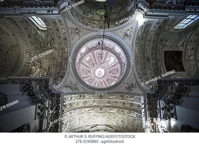 Low-angle view of dome and ceiling of Church of St. Peter and St. Paul. Antakalnis District, Vilnius, Lithuania, Baltic States, Europe