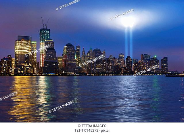 USA, New York City, Manhattan, 911 light memorial on Ground Zero