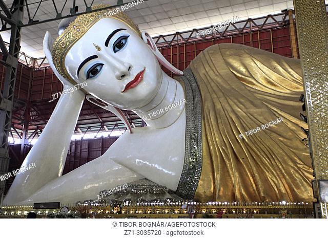 Myanmar, Yangon, Chaukhtatgyi Pagoda, Reclining Buddha, statue,