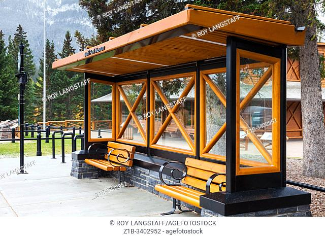 One of the many well constructed bus stop shelters in the mountain town of Banff Alberta Canada