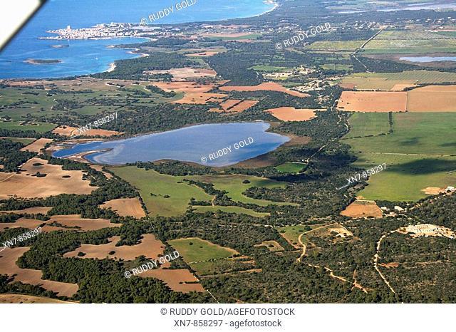 Spain, Balearic Islands, Mallorca, Municipio de Ses Salines, Estany de ses Gambes, Colonia Sant Jordi al fondo