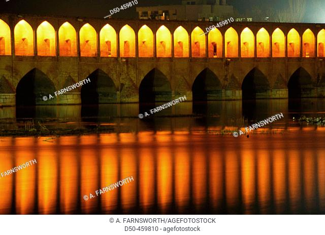 Si-o-Seh Pol, bridge of thirty-three arches over the Zayande Rud river. Esfahan. Iran