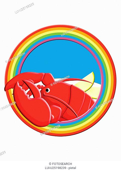 Lobster in Rainbow Frame, Painting, Illustration