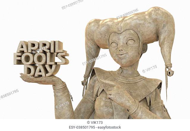 3D harlequin marble sculpture for celebrating april fool's day