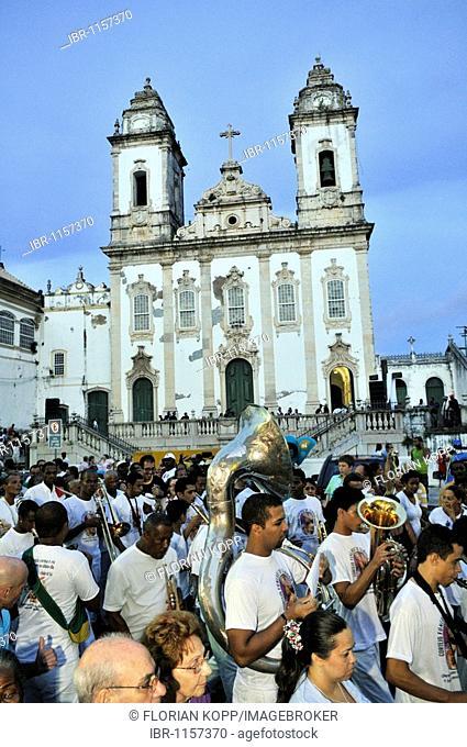 Good Friday procession with brass band, Salvador, Bahia, Brazil, South America