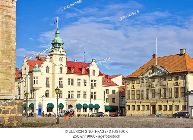 Kalmar, Sweden, view across the Stortorget main place to the city hotel and town hall