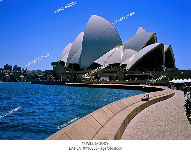 The Sydney harbour bridge and the Sydney opera house create a dramatic skyline around the city and harbour. The Opera House was designed by Jorn Utzon
