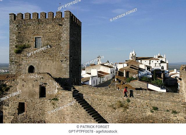TURRET DOMINATING THE FORTIFIED VILLAGE OF MONSARAZ, ALENTEJO, PORTUGAL