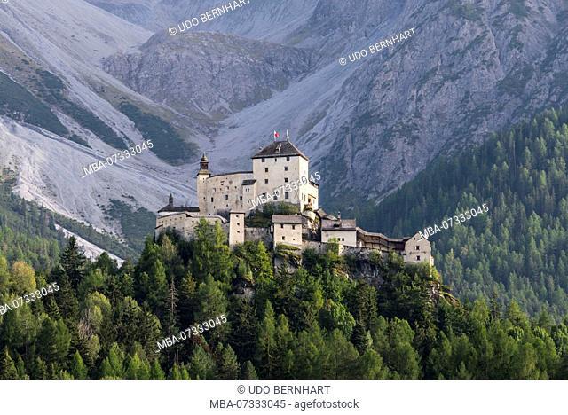 Castle Tarasp, municipality Scuol, Lower Engadine, Grisons, Switzerland
