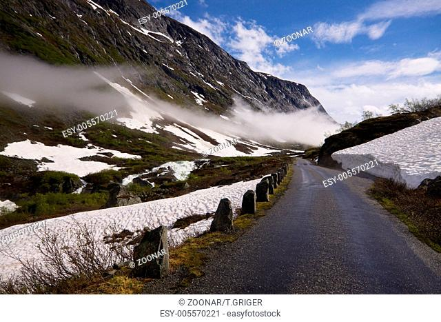 Norwegian scenic road Gamle Strynefjellsvegen in early summer