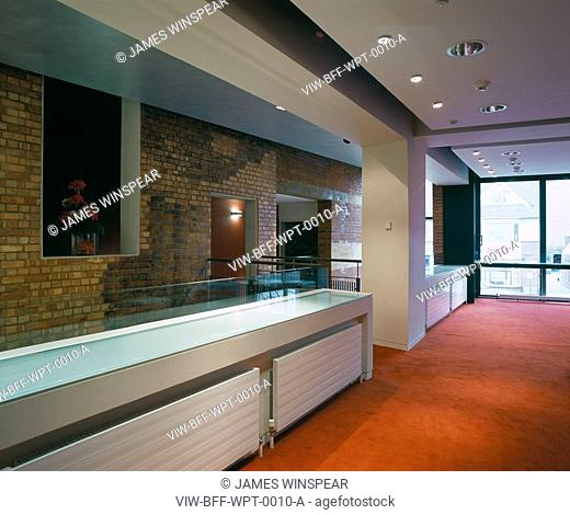 WATFORD PALACE THEATRE, CLARENDON ROAD, WATFORD, HERTFORDSHIRE, UK, BURRELL FOLEY FISCHER LLP, INTERIOR, FIRST FLOOR AREA - WITH BAR/SEATING
