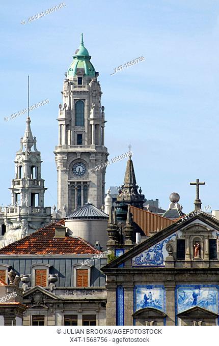 The skyline  with Igreja Dos Congregados Church tower, Porto, Portugal