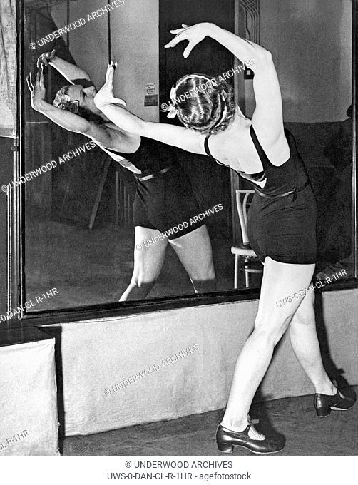 London, England: c. 1934.Princess Irene Bogdan of Romania training at the London Dance School to make her dancing debut in a forthcoming production