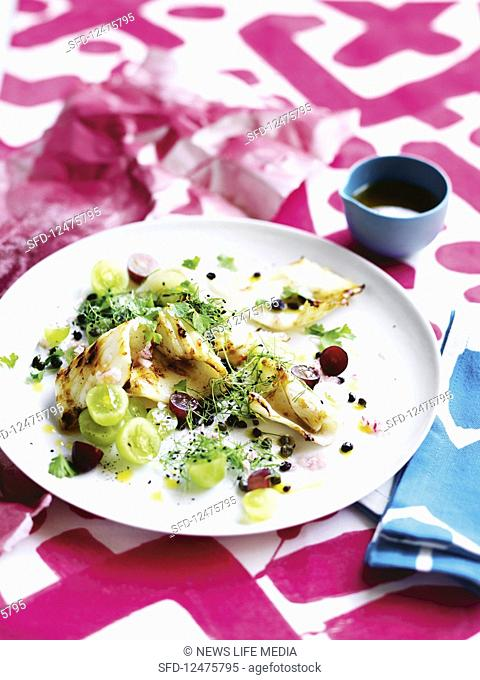 Grilled calamari with grape and currant dressing