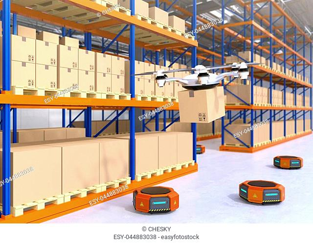 Drone and orange robots in modern warehouse. Advanced warehouse robotics technology concept. 3D rendering image